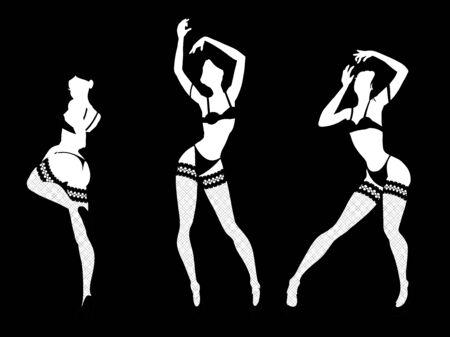 Set of women silhouettes in underwear, club burlesque performer, dancer, stripper, go-go girl, vector illustration