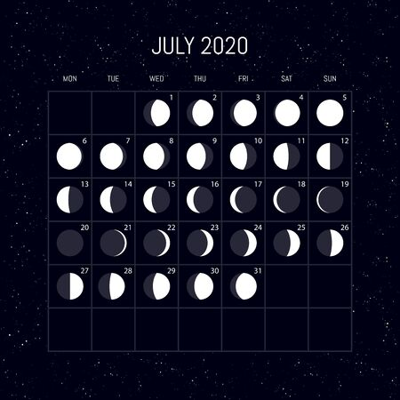 Moon phases calendar for 2020 year. July. Night background design. Vector illustration