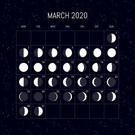 Moon phases calendar for 2020 year. March. Night background design. Vector illustration Vettoriali
