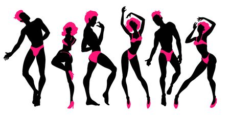 Group of dancing people silhouettes, sexy dancers, men and women, go-go boys and girls, strippers, vector illustration Иллюстрация