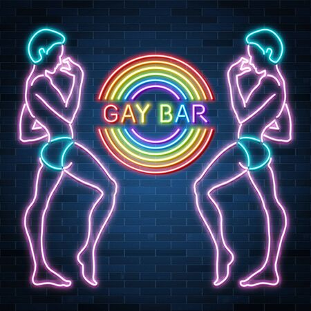 Gay bar neon banner, sexy guy figure, man silhouette, nightclub, rainbow, vector illustration Ilustrace