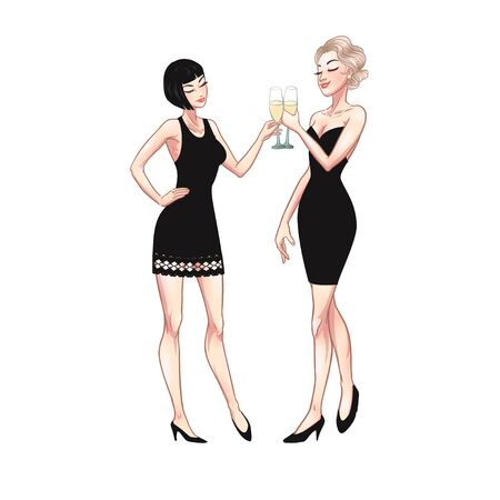 Two beautiful young women holding champagne glasses. Twenties retro party pin-up flapper girls in black dresses. Vector comic illustration Çizim