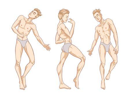 Hombres guapos sexy bailando en ropa interior, stripper, go-go boy, discoteca, ilustración vectorial
