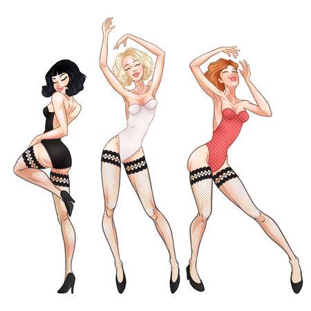 Schöne junge Frauen tanzen in roter Unterwäsche, Brünette, Blondine und Rothaarige, heiße Mädchen, Club, Burleske, Striptease-Symbol. Vektor-Illustration Vektorgrafik