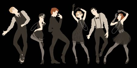 Retro party set, men and women dressed in 1920s style dancing, flapper girls, handsome guys in vintage suits, twenties, vector illustration Illustration
