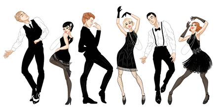Retro party set, men and women dressed in 1920s style dancing, flapper girls, handsome guys in vintage suits, twenties, vector illustration 向量圖像