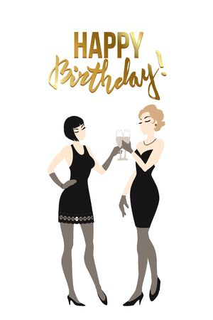 Two beautiful young women holding champagne glasses. Twenties retro party pin-up flapper girls in black dresses. Vector comic illustration  イラスト・ベクター素材