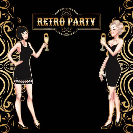 Retro party card, young beautiful women holding champange glasses, flapper girls, twenties, vector illustration