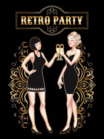 Retro party card, young beautiful women holding champagne glasses, flapper girls, twenties, vector illustration