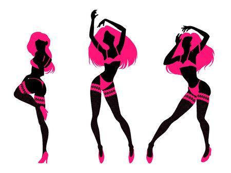 Sexy woman silhouette in underwear, club burlesque performer, dancer, stripper, go-go girl, vector illustration