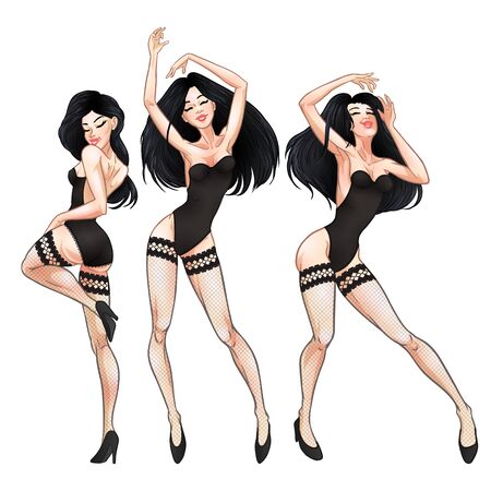 Beautiful young brunette women dancing in black underwear and fishnet stockings, hot girls, club, burlesque, striptease symbol. Vector illustration