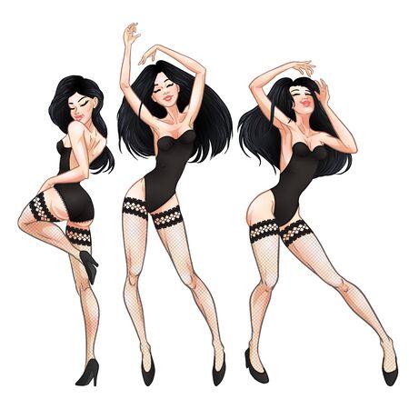 Hermosas mujeres morenas jóvenes bailando en ropa interior negra y medias de red, chicas calientes, club, burlesque, símbolo de striptease. Ilustración vectorial Ilustración de vector