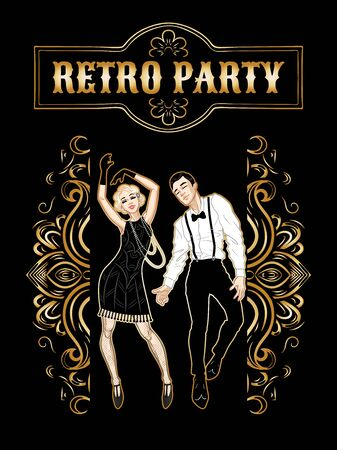 Retro party card, man and woman dressed in 1920s style dancing, flapper girls handsome guy in vintage suit, twenties, vector illustration Stock Illustratie