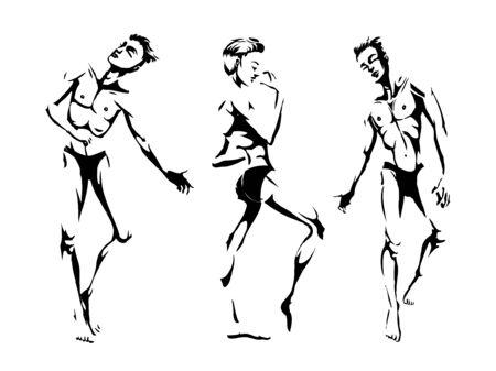 Sexy handsome men dancing in underwear, stripper, go-go boy, gay club disco, vector illustration