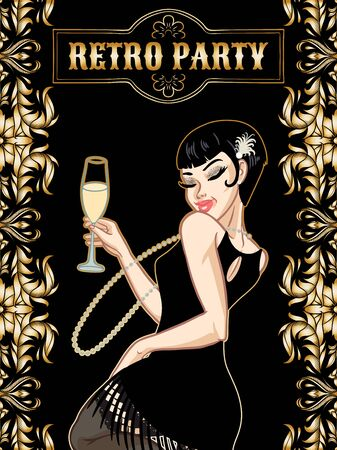 Retro party card, young beautiful woman dressed in 1920s style holding champagne glass, flapper girl, twenties, vector illustration
