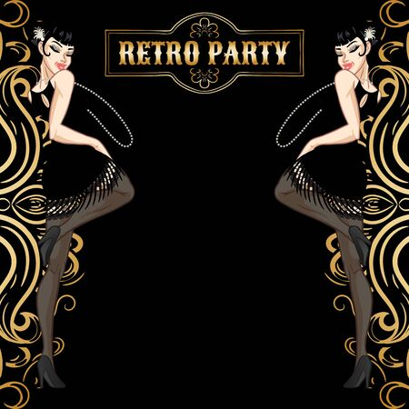 Retro party card, woman dressed in 1920s style dancing, flapper girl, twenties, vector illustration Stock Illustratie