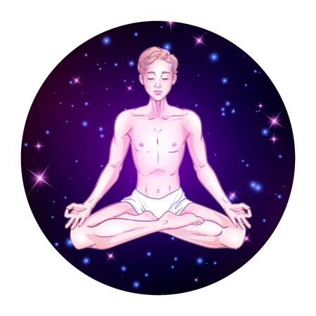 Young meditating yogi man in lotus pose on space background with stars. Vector illustration