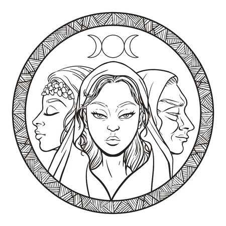 Triple goddess as Maiden, Mother and Crone, beautiful woman, symbol of moon phases. Hekate, mythology, wicca, witchcraft. Vector illustration Banque d'images - 129135624
