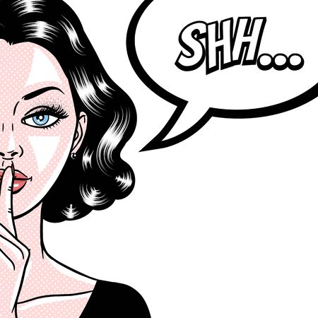 Comic style beautiful young woman holding a finger to her mouth, secret, whisper, psst, pop art, vector illustration