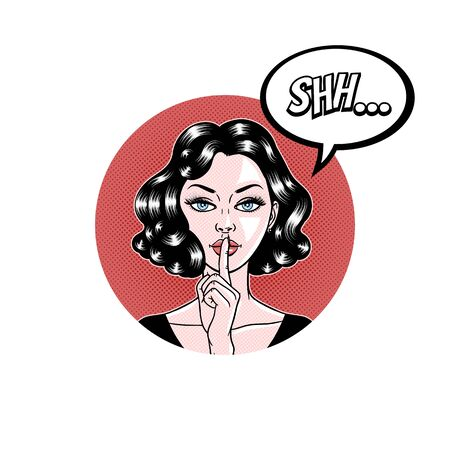 Comic style beautiful young woman holding a finger to her mouth in circle, secret, whisper, psst, pop art, vector illustration 向量圖像
