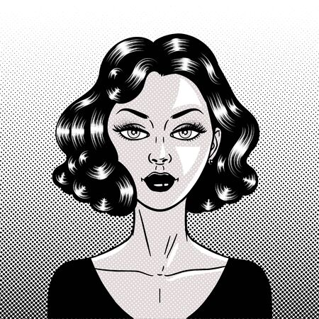 Comic style beautiful young brunette woman, pop-art face close-up, vector illustration
