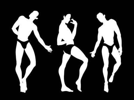 Sexy handsome men silhouettes dancing in underwear, stripper, go-go boy, club disco, vector illustration Vetores