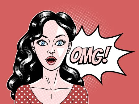 Comic style beautiful young woman surprised expression, open mouth, omg, wow, pop art, vector illustration