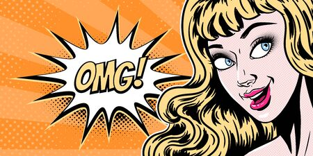 Comic style beautiful young blond woman surprised expression, open mouth, omg, wow, pop art girl banner, vector illustration