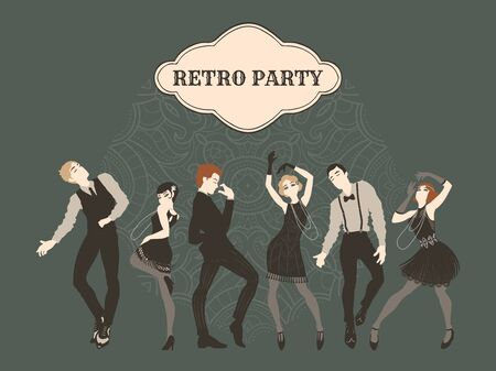 Retro party card, men and women dressed in 1920s style dancing, flapper girls, handsome guys in vintage suits, twenties, vector illustration