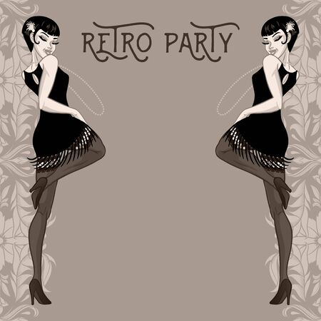 Retro party card, young woman dressed in 1920s style, flapper girl, vector illustration