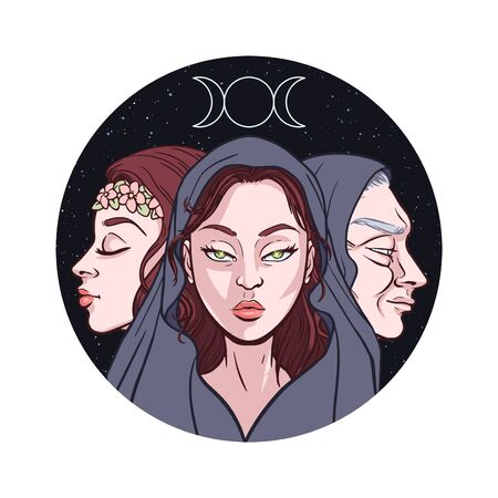 Triple goddess as Maiden, Mother and Crone, beautiful woman, symbol of moon phases. Hekate, mythology, wicca, witchcraft. Vector illustration Banque d'images - 129267745