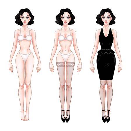 Hermosa mujer joven, plantilla de muñeca de papel de vestir, lencería y vestido de noche, modelo de niña morena, ilustración vectorial