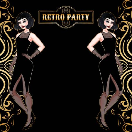 Retro party card, beautiful woman in black dress, glamour model girl, vector illustration Stock Illustratie