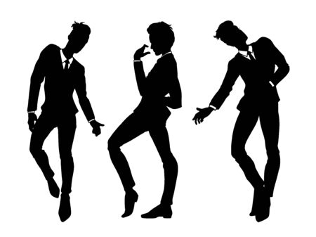 Men silhouettes in classic suits dancing, set of people, isolated on white