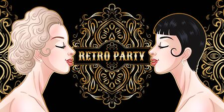 Retro party card, two young beautiful women in 1920s style, flapper girls, twenties, vector illustration Ilustração