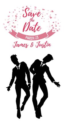 Save the date card, gay wedding, two man in classic suits in love, vector illustration