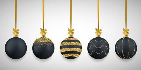 Christmas decorative black balls set with glitter, vector illustration