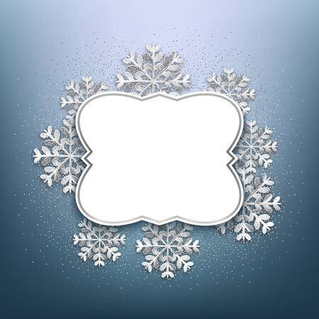 Merry Christmas decorative frame with glitter and snowflakes, blank banner for message, vector illustration Çizim