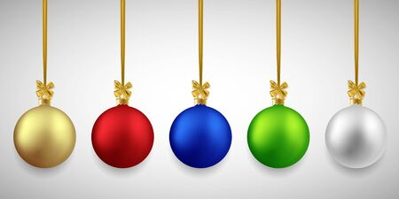 Christmas decorative colorful balls set, vector illustration
