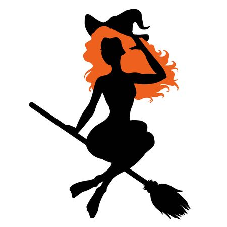 Beautiful young witch woman sitting on the broom, sexy girl silhouette, Halloween costume, vector illustration Standard-Bild - 129811823