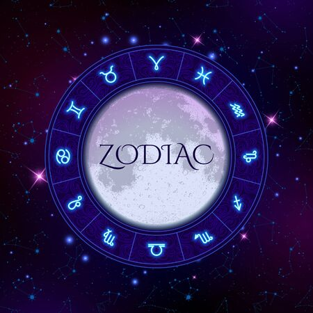 Zodiac circle on space background with moon in the centre, star constellations, horoscope symbols, vector illustration