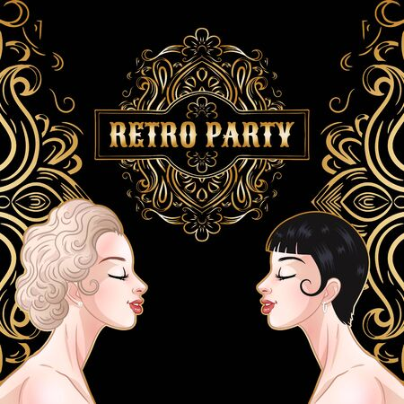 Retro party card, two young beautiful women in 1920s style, flapper girls, twenties, vector illustration Illustration