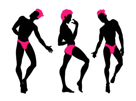 Sexy handsome men silhouettes dancing in underwear, stripper, go-go boy, gay club disco, neon colors, vector illustration Standard-Bild - 131290678