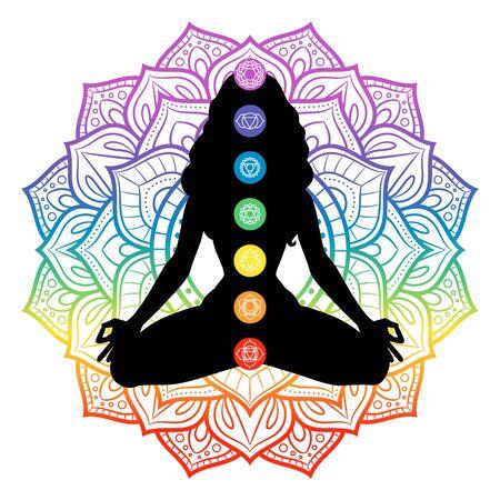 Seven chakras on meditating yogi woman silhouette, vector illustration
