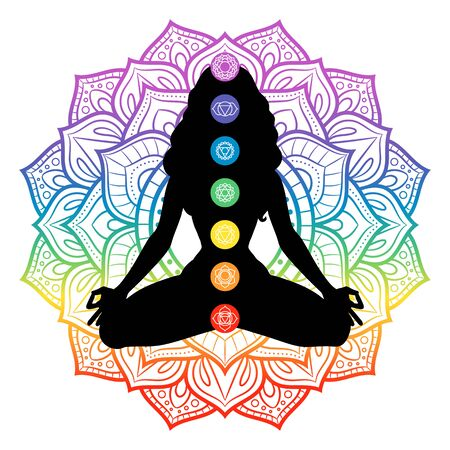 Seven chakras on meditating yogi woman silhouette, vector illustration