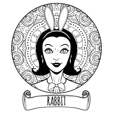 Kaninchen-chinesisches Sternzeichen-Kunstwerk als schönes Mädchen, erwachsene Malbuchseite, Vektorillustration Vektorgrafik