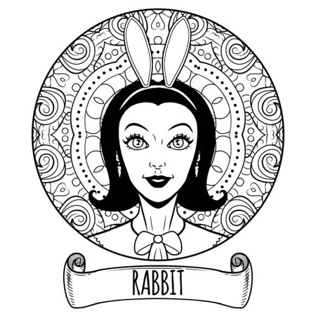 Rabbit Chinese zodiac sign artwork as beautiful girl, adult coloring book page, vector illustration Vetores