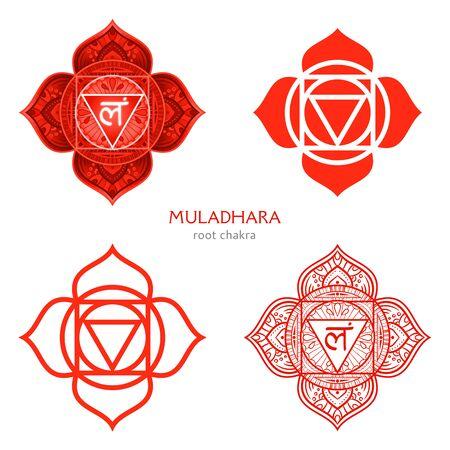 Muladhara, root chakra symbol. Colorful mandala. Vector illustration Illustration