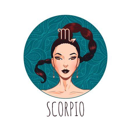 Scorpio zodiac sign artwork, beautiful girl face, horoscope symbol, star sign, vector illustration Ilustração