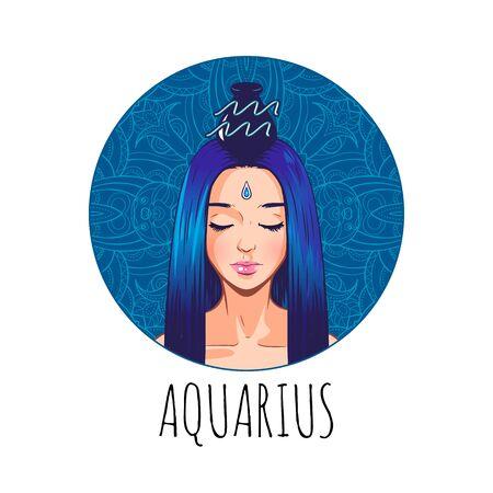 Oeuvre de signe du zodiaque Verseau, beau visage de fille, symbole de l'horoscope, signe astrologique, illustration vectorielle